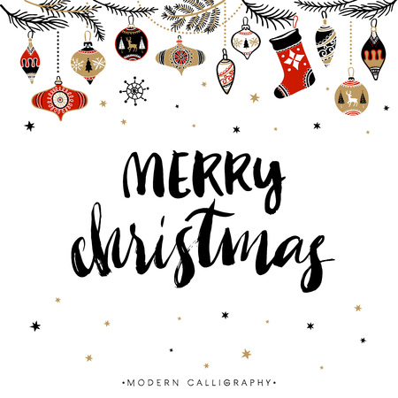 hand lettering: Merry Christmas. Christmas calligraphy. Handwritten modern brush lettering. Hand drawn design elements.