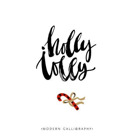 christmas poster: Holly Jolly. Christmas calligraphy. Handwritten modern brush lettering. Hand drawn design elements.