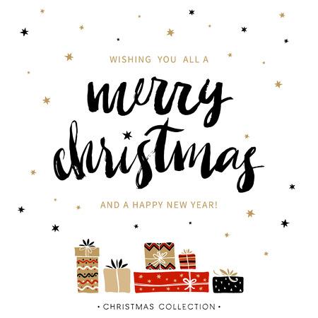 estaciones del año: Feliz navidad y próspero año nuevo. tarjeta de felicitación de Navidad con la caligrafía. Escrita a mano moderna letras cepillo. Dibujado a mano elementos de diseño.