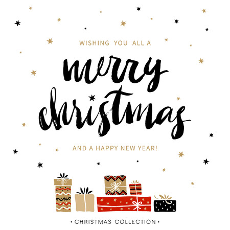 seasons greeting card: Merry Christmas and Happy New Year. Christmas greeting card with calligraphy. Handwritten modern brush lettering. Hand drawn design elements. Illustration