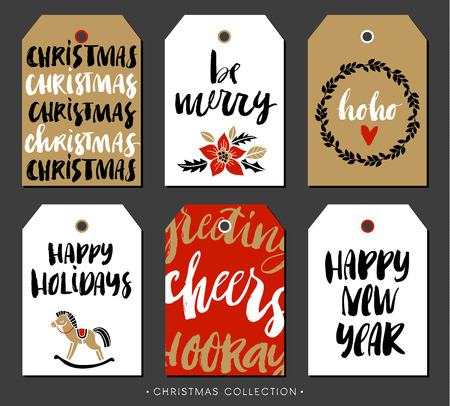 merry: Christmas gift tag with calligraphy. Handwritten modern brush lettering: Merry Christmas, Happy Holidays, New Year, Cheers. Hand drawn design elements.
