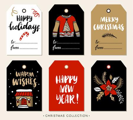 Christmas gift tag met kalligrafie. Handgeschreven moderne borstel belettering: Merry Christmas, Happy Holidays, Warme Wensen, Nieuwjaar. De hand getekende ontwerp elementen. Stock Illustratie