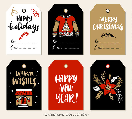 holidays: Christmas gift tag with calligraphy. Handwritten modern brush lettering: Merry Christmas, Happy Holidays, Warm Wishes, New Year. Hand drawn design elements.