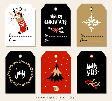 joy: Christmas gift tag with calligraphy. Handwritten modern brush lettering: Merry Christmas, Joy, Holly Jolly. Hand drawn design elements.
