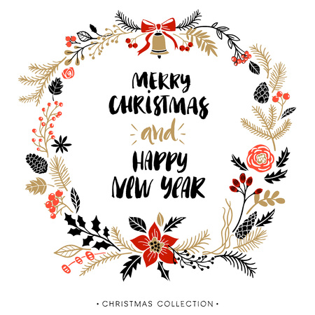 greetings from: Christmas greeting wreath with calligraphy. Happy New Year and Merry Christmas. Handwritten modern brush lettering. Hand drawn design elements.