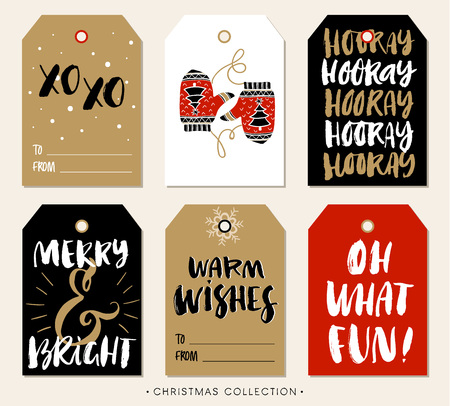 fun: Christmas gift tag with calligraphy. Handwritten modern brush lettering: XO XO, Hooray, Merry and Bright, Warm Wishes, Oh What Fun. Hand drawn design elements.