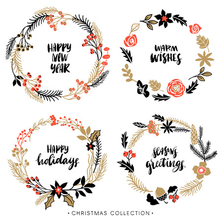 christmas wreath: Christmas greeting wreaths with calligraphy. Handwritten modern brush lettering. Hand drawn design elements.