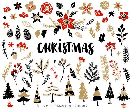 Kerst set van planten met bloemen, sparren takken, bladeren en bessen. Kerstbomen. Handgeschreven moderne borstel belettering. De hand getekende ontwerp elementen.