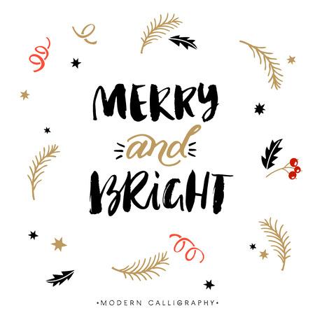 Vrolijk en Helder. Kerstmis kalligrafie. Handgeschreven moderne borstel belettering. hand getrokken design elementen.