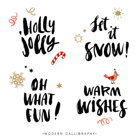 greeting card: Christmas calligraphy phrases. Holly Jolly. Let it snow. Oh what fun. Warm wishes. Handwritten modern brush lettering. Hand drawn design elements.