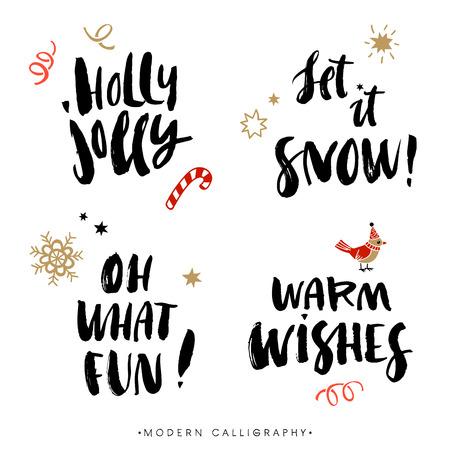 calligraphie arabe: Phrases de calligraphie de Noël. Gai de houx. Qu'il neige. Oh quel plaisir. Des v?ux sincères et chaleureux. Manuscrit lettrage de brosse moderne. Tiré par la main des éléments de conception.