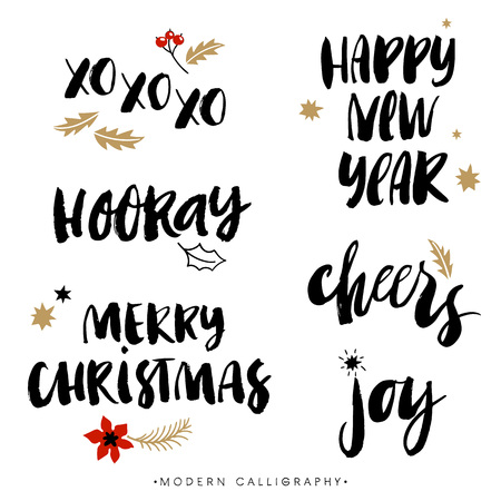 Christmas calligraphy phrases. XOXO. Happy New Year. Merry Christmas. Hooray. Cheers. Joy. Handwritten modern brush lettering. Hand drawn design elements.