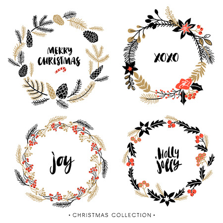 Christmas greeting wreaths with calligraphy. Handwritten modern brush lettering. Hand drawn design elements.
