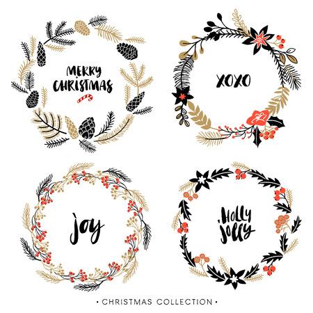 coronas de navidad: Guirnaldas de felicitación de Navidad con la caligrafía. Letras cepillo moderno manuscrita. Dibujado a mano elementos de diseño.