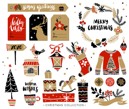 wish of happy holidays: Christmas hand drawn design elements with calligraphy. Handwritten modern brush lettering. Gift tags and gift boxes, wreath, sweater and christmas stocking.