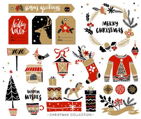 getrokken Kerstmis hand ontwerpelementen met kalligrafie. Handgeschreven moderne borstel belettering. Markeringen van de gift en geschenkdozen, krans, trui en kerstsok. Stock Illustratie