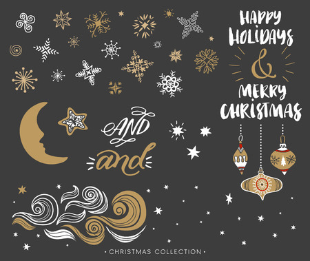 gold snowflakes: Christmas hand drawn design elements with calligraphy. Magic night sky, stars and snowflakes, gift Christmas balls. Handwritten modern brush lettering. Illustration