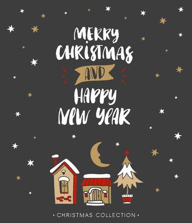 メリー クリスマスと新年あけましておめでとうございます。書道とクリスマスのグリーティング カード。モダンな筆文字を手書きします。手描きデ