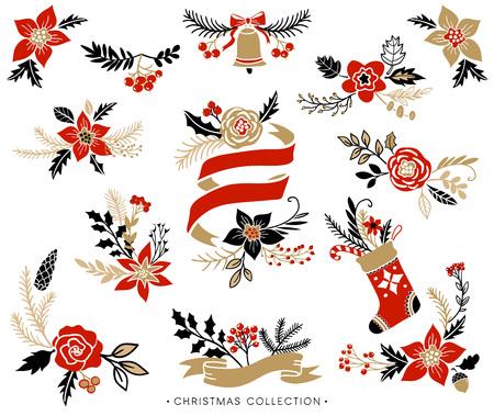 Christmas bouquets, wreaths and floral arrangements. Hand drawn design elements.