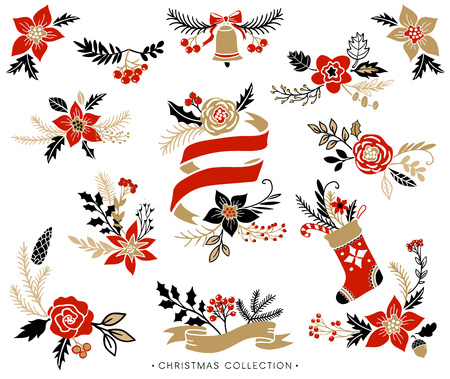 christmas card template: Christmas bouquets, wreaths and floral arrangements. Hand drawn design elements.