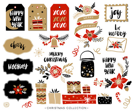Christmas hand drawn design elements with calligraphy. Handwritten modern brush lettering. Gift tags and gift boxes, Christmas bouquets and compositions.