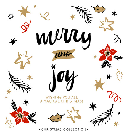 greetings from: Merry and Joy. Christmas greeting card with calligraphy. Handwritten modern brush lettering. Hand drawn design elements.