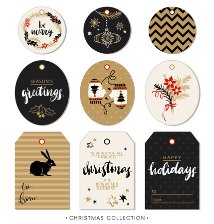 holidays: Christmas gift tag. Hand drawn design elements and calligraphy. Handwritten modern brush lettering: Merry Christmas, Happy Holidays, Be merry, Seasons greetings. Illustration