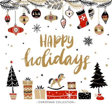 feriado: Felices vacaciones. tarjeta de felicitación de Navidad con la caligrafía. Escrita a mano moderna letras cepillo. Dibujado a mano elementos de diseño.