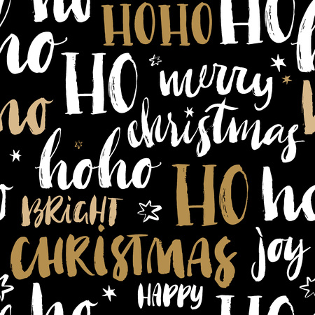 Merry Christmas hand drawn seamless pattern with calligraphy. Handwritten modern brush lettering. Dry brush and rough edges ink doodle illustration. Abstract vector background