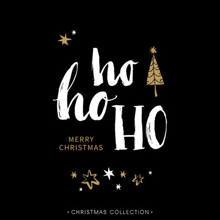 Merry Christmas greeting card with calligraphy. Hoho. Handwritten modern brush lettering. Hand drawn design elements. Vettoriali