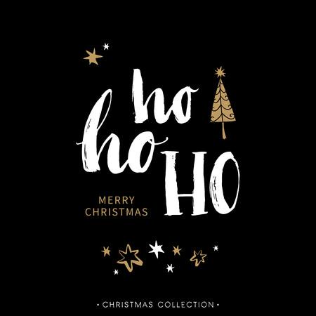 muerdago navideÃ?  Ã? Ã?±o: Feliz tarjeta de felicitación de Navidad con la caligrafía. Hoho. Escrita a mano moderna letras cepillo. Dibujado a mano elementos de diseño. Vectores