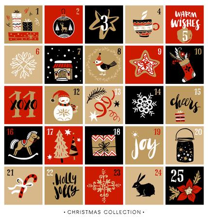 adviento: calendario del advenimiento de la Navidad. Dibujado a mano elementos de diseño y caligrafía. Escrita a mano moderna letras cepillo. Vectores