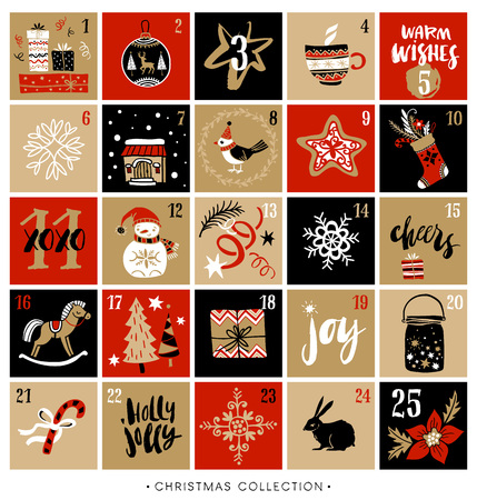 Christmas advent calendar. Hand drawn design elements and calligraphy. Handwritten modern brush lettering. Stock Illustratie