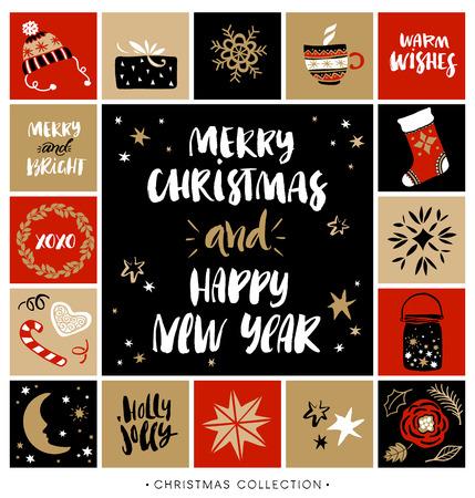 adviento: Feliz navidad y próspero año nuevo. tarjeta de felicitación de Navidad con la caligrafía. Escrita a mano moderna letras cepillo. Dibujado a mano elementos de diseño.