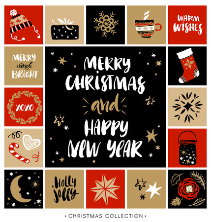 wish of happy holidays: Merry Christmas and Happy New Year. Christmas greeting card with calligraphy. Handwritten modern brush lettering. Hand drawn design elements. Illustration