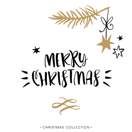 Merry Christmas! Christmas greeting card with calligraphy. Handwritten modern brush lettering. Hand drawn design elements. Vettoriali