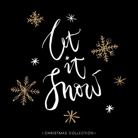 それを聞かせて雪!書道とクリスマスのグリーティング カード。モダンな筆文字を手書きします。手描きデザイン要素です。
