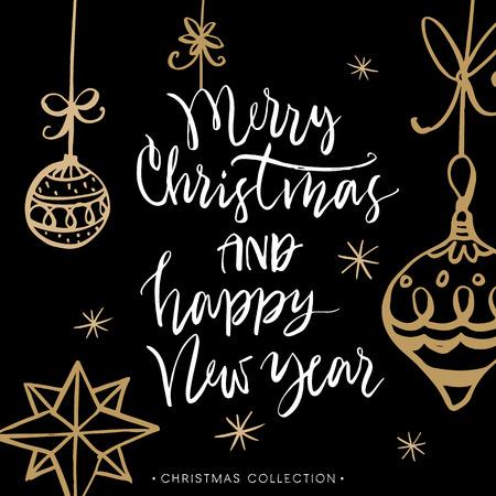 メリー クリスマスと新年あけましておめでとうございます!書道とクリスマスのグリーティング カード。モダンな筆文字を手書きします。手描きデザイン要素です。 写真素材 - 49114652