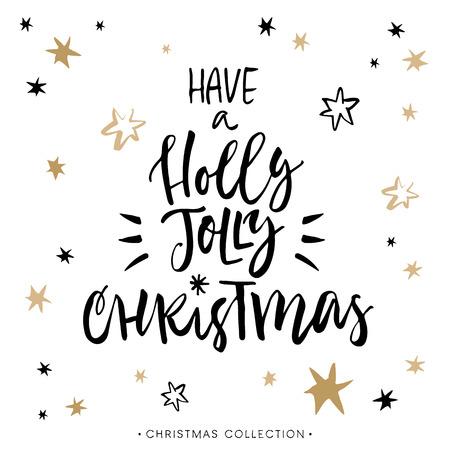 ホリーの陽気なクリスマスを持っている!書道とクリスマスのグリーティング カード。モダンな筆文字を手書きします。手描きデザイン要素です。  イラスト・ベクター素材