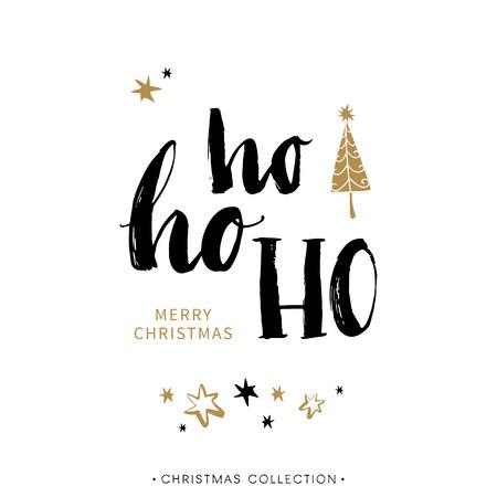 書道とメリー クリスマスのグリーティング カード。Ho Ho モンツァ手書きモダンな筆文字。手描きデザイン要素です。 写真素材 - 49204277