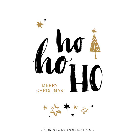 Merry Christmas greeting card with calligraphy. Ho Ho Ho. Handwritten modern brush lettering. Hand drawn design elements.