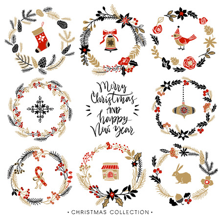 Christmas greeting wreaths with calligraphy. Hand drawn design elements. Handwritten modern brush lettering. Vectores
