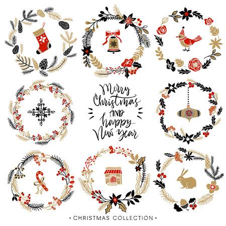 coronas de navidad: coronas de felicitación de Navidad con la caligrafía. Dibujado a mano elementos de diseño. Escrita a mano moderna letras cepillo. Vectores