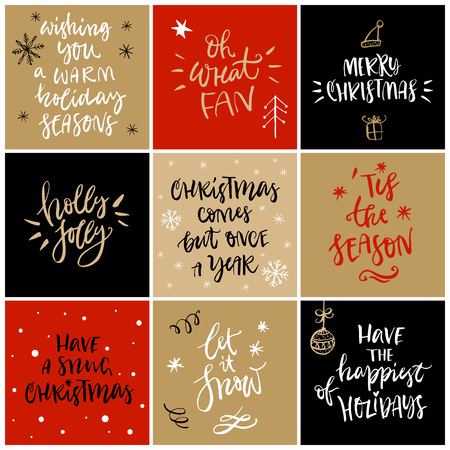 merry mood: Christmas greeting card with calligraphy. Handwritten modern brush lettering. Hand drawn design elements.