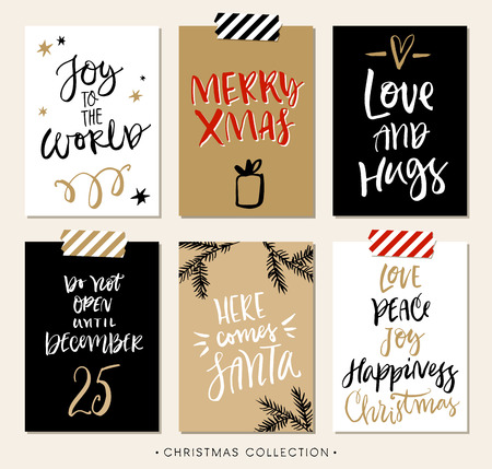 greetings card: Christmas gift tags and cards with calligraphy. Handwritten modern brush lettering. Hand drawn design elements. Illustration