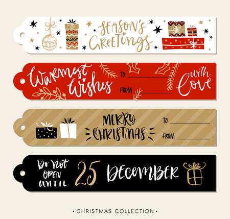 서예와 크리스마스 선물 태그 및 레이블. 필기 현대 브러시 문자. 손으로 디자인 요소를 그려.