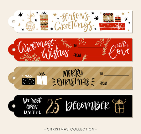 Christmas gift tags and labels with calligraphy. Handwritten modern brush lettering. Hand drawn design elements. Vectores