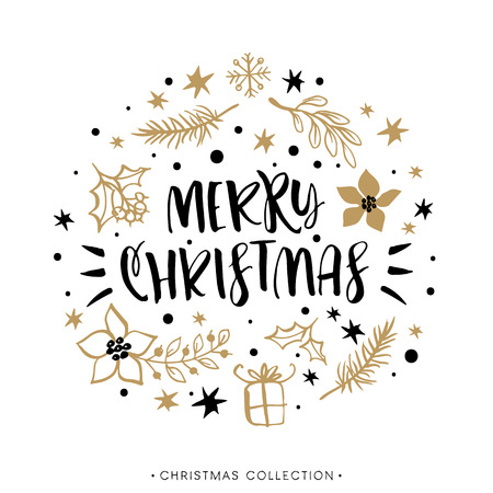 bright: Merry Christmas. Winter Holiday greeting card with calligraphy. Hand drawn design elements. Handwritten modern lettering.