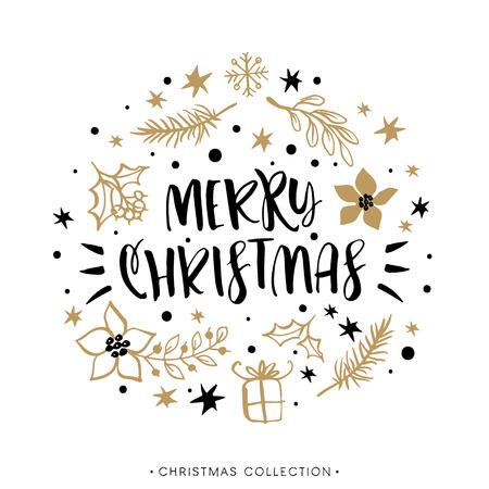 Vrolijk kerstfeest. Winter vakantie wenskaart met kalligrafie. hand getrokken design elementen. Handgeschreven moderne letters.
