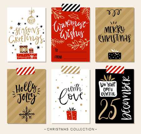 wish of happy holidays: Christmas gift tags and cards with calligraphy. Hand drawn design elements. Handwritten modern lettering.